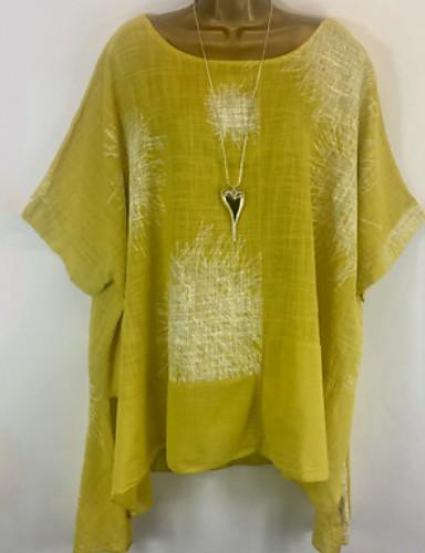 billige Dametopper-Løstsittende Store størrelser Skjorte Dame - Geometrisk Svart