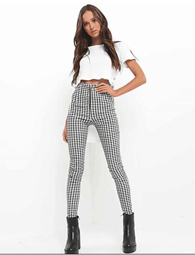 สำหรับผู้หญิง ซึ่งทำงานอยู่ / พื้นฐาน กางเกง Chinos กางเกง - ลายสก๊อต / ลายตาราง ลายต่อ เอวสูง ขาว สีเหลือง ทับทิม S M L