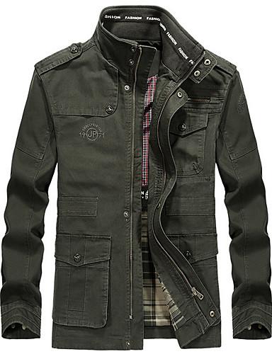 preiswerte Herrenjacken-Herrn Alltag Standard Jacke, Solide Ständer Langarm Polyester Schwarz / Armeegrün / Khaki