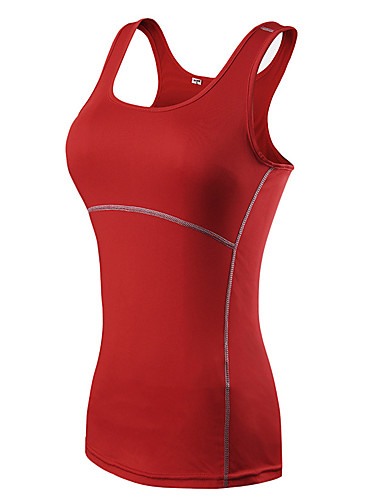 cheap Yoga Clothing-Women's Yoga Top Summer Racerback Patchwork Fashion White Black Red Blue Green Elastane Fitness Gym Workout Top Sleeveless Sport Activewear Breathable Quick Dry Sweat-wicking Stretchy