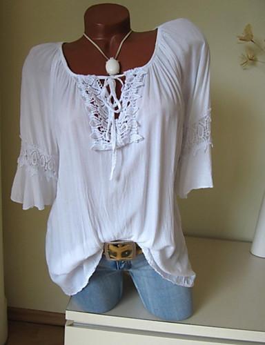 billige Skjorter til damer-Store størrelser Skjorte Dame - Ensfarget Rosa
