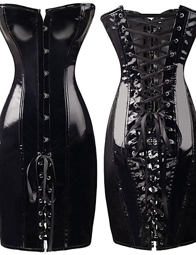 povoljno Seksi donje rublje-ženska korzet haljina steampunk wetlook umjetna koža vintage klub bustiers