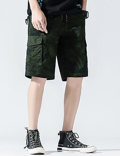 สำหรับผู้ชาย Sporty กางเกงขาสั้น กางเกง - สีพื้น สีน้ำตาล เทาเข้ม อาร์มี่ กรีน XXL XXXL XXXXL