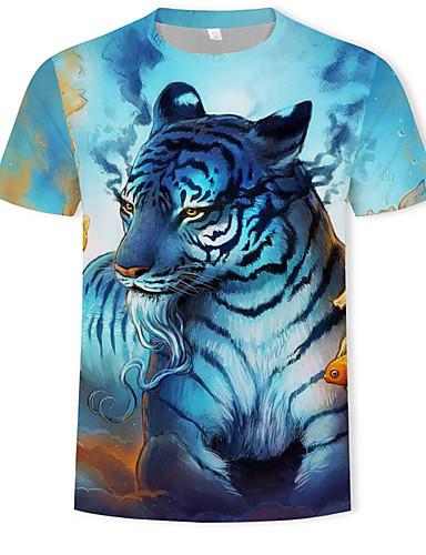 สำหรับผู้ชาย ขนาดพิเศษ เสื้อเชิร์ต ฝ้าย ลายพิมพ์ คอกลม 3D / สัตว์ สีฟ้า