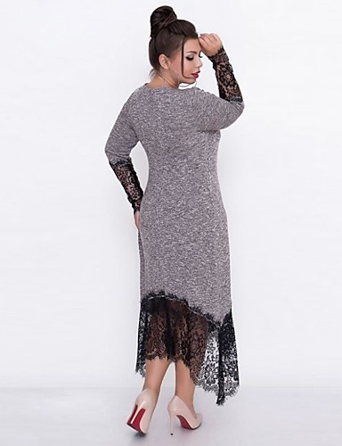 levne Šaty velkých velikostí-dámské koleno-délka pochvy šaty fialová modrá šedá xxl xxxl xxxxl xxxxxl