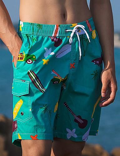 สำหรับผู้ชาย พื้นฐาน กางเกงขาสั้น กางเกง - Patterned ใบไม้สีเขียวที่มีสามแฉก ส้ม XL XXL XXXL