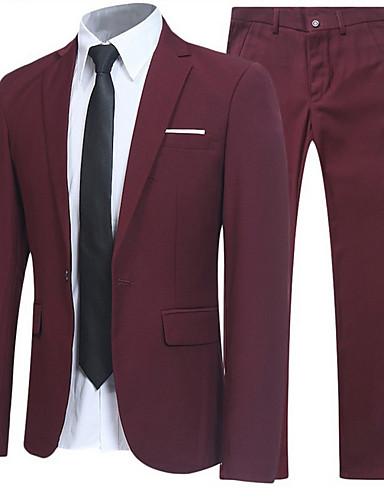 สำหรับผู้ชาย เสื้อคลุมสุภาพ, สีพื้น คอเสื้อเชิ้ต เส้นใยสังเคราะห์ สีน้ำเงินกรมท่า / สีเทา / ไวน์