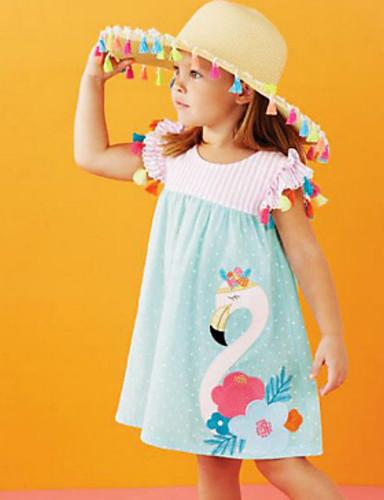 เด็ก Toddler เด็กผู้หญิง สไตล์น่ารัก Bird ปัก แขนสั้น ยาวถึงเข่า กระโปรงชุด สีฟ้า / ฝ้าย