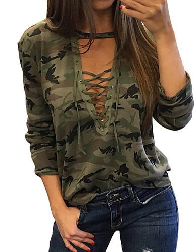 billige Dametopper-Skinny Store størrelser T-skjorte Dame - Kamuflasje Grønn