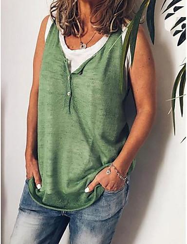 สำหรับผู้หญิง เสื้อเชิร์ต ปุ่ม คอวี สีพื้น ใบไม้สีเขียวที่มีสามแฉก / ฤดูใบไม้ผลิ / ฤดูร้อน / ตก