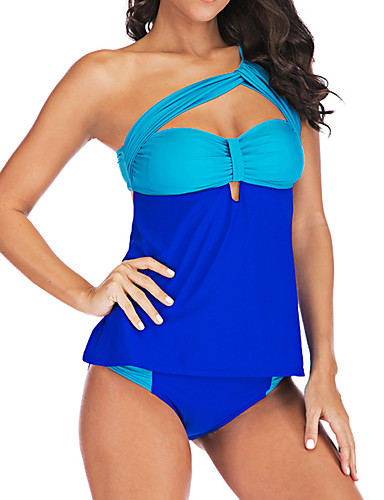 สำหรับผู้หญิง พื้นฐาน สีน้ำเงิน สีดำ tankini ชุดว่ายน้ำ - ลายบล็อคสี XXXL XXXXL XXXXXL สีน้ำเงิน