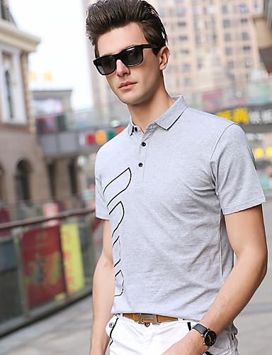 สำหรับผู้ชาย Polo ฝ้าย ลายพิมพ์ คอเสื้อเชิ้ต สีพื้น ขาว