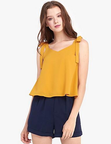 สำหรับผู้หญิง เสื้อสตรี เพรียวบาง สีพื้น สีเหลือง