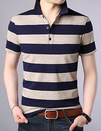 levne Pánská polo trika-Pánské - Proužky Polo, Tisk Bavlna Košilový límec Vodní modrá