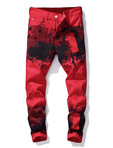 สำหรับผู้ชาย Street Chic / Punk & สไตล์โกธิค กางเกง Chinos กางเกง - Patterned คลาสสิค / ลายพิมพ์ ฝ้าย ทับทิม 34 36 38
