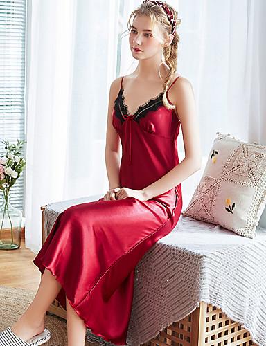 สำหรับผู้หญิง ลูกไม้ / เปิดหลัง / โบว์ Sexy ซาตินและผ้าไหม เสื้อนอน สีพื้น สีน้ำเงินกรมท่า ไวน์ ตะพุ่น M L XL / คอวี / แยก