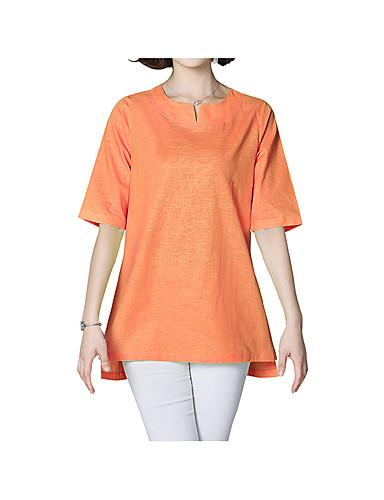 สำหรับผู้หญิง เสื้อเชิร์ต ฝ้าย ลายต่อ หลวม สีพื้น ขาว