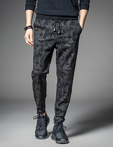 Men's Sporty Chinos Pants - Print Classic Black XL XXL XXXL