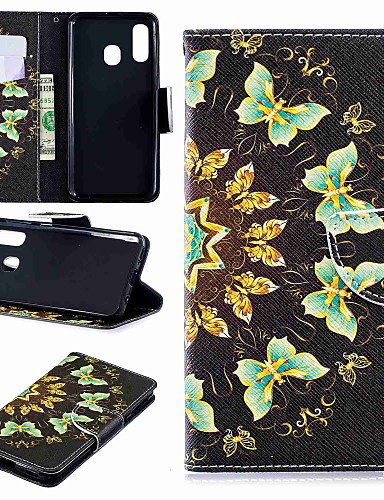 Case สำหรับ Samsung Galaxy A6 (2018) / A6+ (2018) / Galaxy A7(2018) Wallet / Card Holder / with Stand ตัวกระเป๋าเต็ม Butterfly Hard หนัง PU