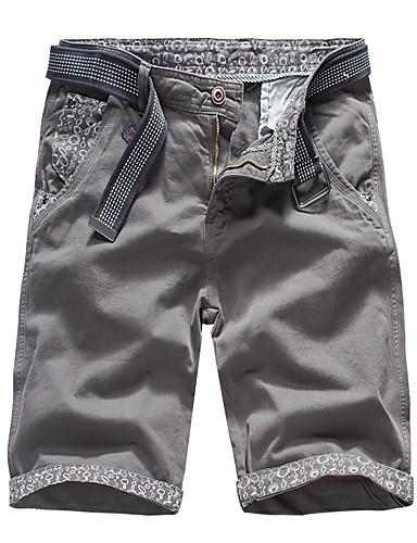 สำหรับผู้ชาย Sporty กางเกง Chinos / กางเกงขาสั้น กางเกง - ลายพิมพ์ ฝ้าย อาร์มี่ กรีน สีน้ำเงิน สีเทา 30 31 32