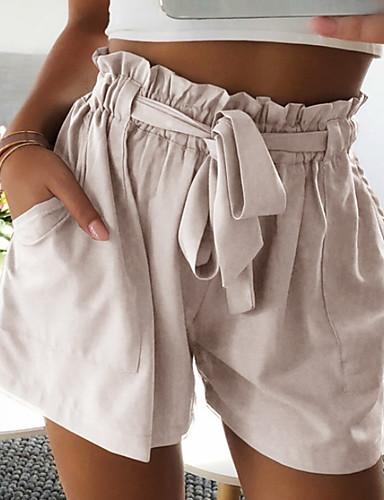 สำหรับผู้หญิง พื้นฐาน กางเกงขาสั้น กางเกง - สีพื้น ผ้าขนสัตว์สีธรรมชาติ สีเทา สีกากี M L XL