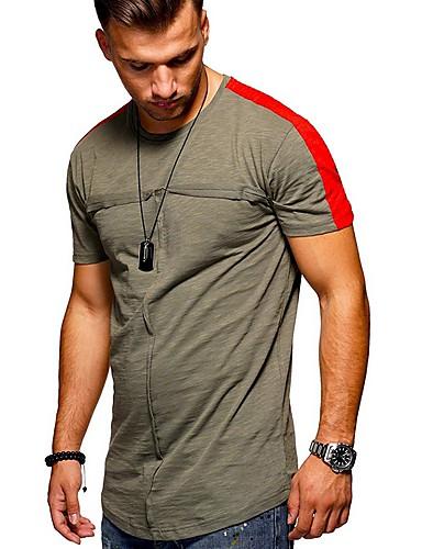สำหรับผู้ชาย ขนาดของยุโรป / อเมริกา เสื้อเชิร์ต คอกลม เพรียวบาง สีพื้น สีดำ