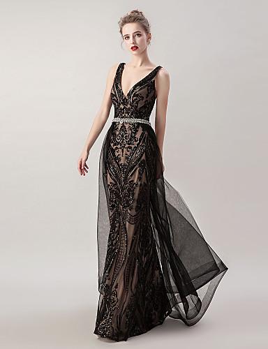 cheap Evening Dresses-Mermaid / Trumpet Sexy Sparkle Engagement Formal Evening Dress V Neck Sleeveless Floor Length Tulle with Sash / Ribbon Criss Cross Beading 2020