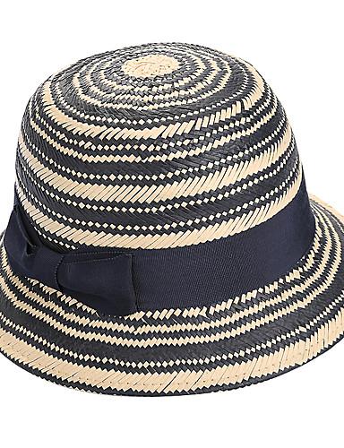 สำหรับผู้หญิง ลายแถบ Straw ซึ่งทำงานอยู่-หมวกสาน ฤดูใบไม้ผลิ ฤดูร้อน สีดำ
