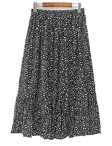 สำหรับผู้หญิง Swing ขนาดใหญ่ กระโปรง - ลายจุด สีดำ ขาว สีน้ำตาล XL XXL XXXL