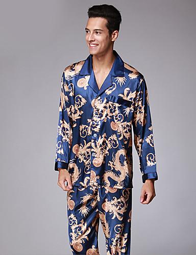 levne Pánské prádlo a plavky-Pánské Košilový límec Kostýmy Pyžama Barevné bloky