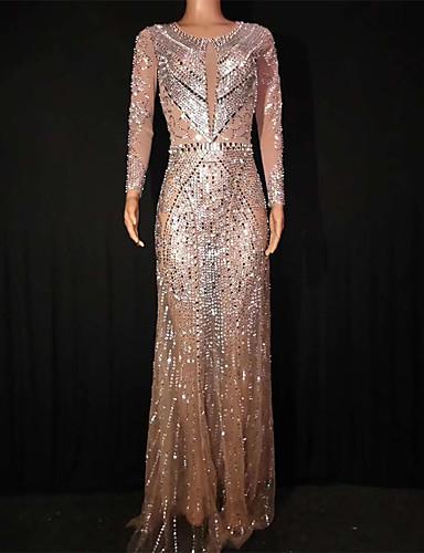 voordelige Shall We®-Exotische Dancewear Strass bodysuit / Club kostuum Dames Prestatie Spandex Kristallen / Bergkristallen Lange mouw Kleding