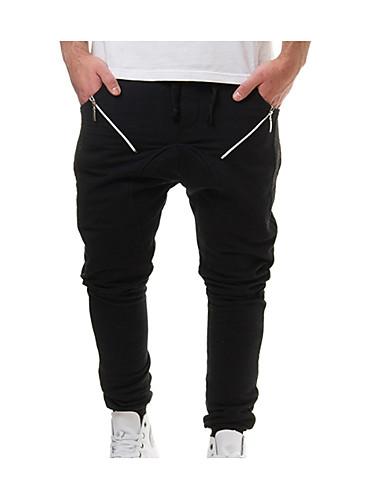 baratos Calças e Shorts Masculinos-Homens Básico Jogger Calças - Sólido Preto Cinzento Escuro Cinza Claro XL XXL XXXL