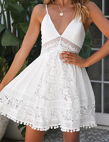 Жен. Классический Элегантный стиль Оболочка Платье - Однотонный Выше колена