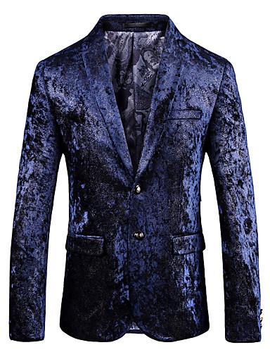 สำหรับผู้ชาย เสื้อคลุมสุภาพ, รูปเรขาคณิต ปกคอแบะของเสื้อแบบพึค ไหมสังเคราะห์ / เส้นใยสังเคราะห์ สีน้ำเงิน