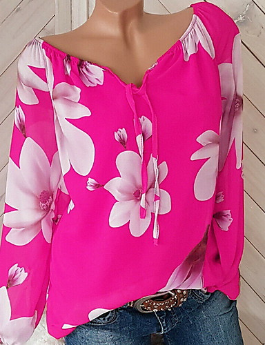 สำหรับผู้หญิง ขนาดพิเศษ เสื้อเชิร์ต คอวี เพรียวบาง ลายดอกไม้ ทับทิม