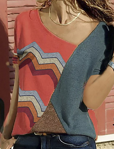 billige T-skjorter til damer-Store størrelser T-skjorte Dame - Fargeblokk Rød