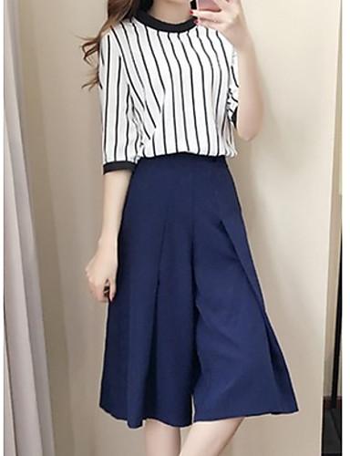 billige Todelt dress til damer-Dame Grunnleggende Kort Sett Bukse Stripet