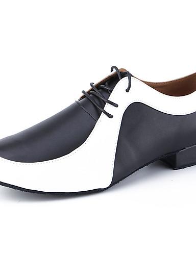 preiswerte Lateinamerikanischer Tanz-Herrn Tanzschuhe Leder Schuhe für den lateinamerikanischen Tanz Absätze Starke Ferse Maßfertigung Schwarz / Weiß / Leistung / Praxis