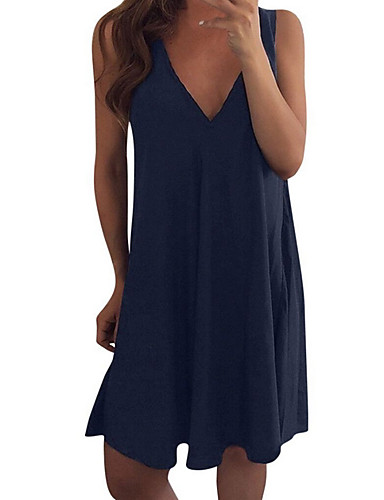 preiswerte Blaue Kleider-Damen Elegant A-Linie Kleid Solide Übers Knie
