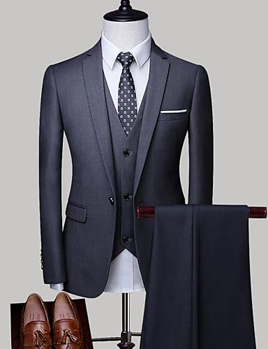 olcso Férfi zakók és öltönyök-Férfi Extra méret ruhák, Egyszínű Állógallér Poliészter Világos szürke / Tengerészkék / Világoskék