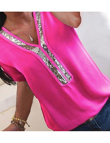 billige T-skjorter til damer-V-hals Store størrelser T-skjorte Dame - Fargeblokk, Paljetter / Chiffon / Glimmer Fuksia / Vår / Sommer / Høst