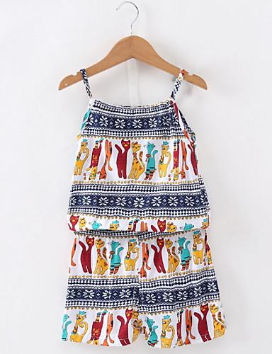 ทารก เด็กผู้หญิง Street Chic รูปเรขาคณิต เสื้อไม่มีแขน ปกติ ชุดเสื้อผ้า ขาว / Toddler