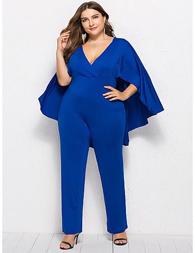สำหรับผู้หญิง Street Chic คอวี สีดำ ไวน์ สีน้ำเงินกรมท่า ชุด Jumpsuits, สีพื้น ลายต่อ XL XXL XXXL
