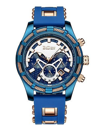 สำหรับผู้ชาย นาฬิกาข้อมือสแตนเลส Swiss นาฬิกาอิเล็กทรอนิกส์ (Quartz) สแตนเลส สีสระน้ำ 50 m โครโนกราฟ Creative ดีไซน์มาใหม่ ระบบอนาล็อก ภายนอก แฟชั่น - ฟ้า สองปี อายุการใช้งานแบตเตอรี่