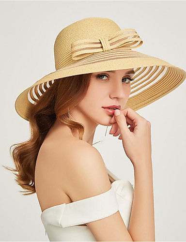 สำหรับผู้หญิง สีพื้น เส้นใยสังเคราะห์ Straw ซึ่งทำงานอยู่ พื้นฐาน สไตล์น่ารัก-หมวกสาน ดวงอาทิตย์หมวก ทุกฤดู ขาว สีดำ ผ้าขนสัตว์สีธรรมชาติ
