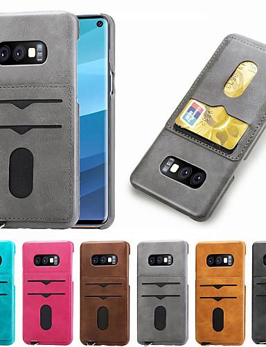 Case สำหรับ Samsung Galaxy S9 / S9 Plus / Galaxy S10 Card Holder ปกหลัง สีพื้น Hard หนัง PU