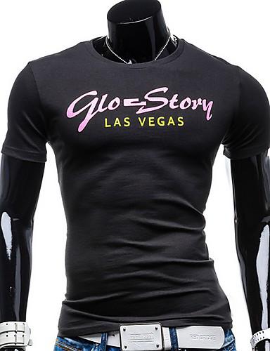 สำหรับผู้ชาย ขนาดของยุโรป / อเมริกา เสื้อเชิร์ต คอกลม เพรียวบาง ลายตัวอักษร สีดำ