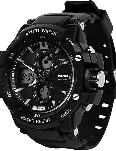 SKMEI สำหรับผู้ชาย นาฬิกาดิจิตอล นาฬิกา Navy Seal ดิจิตอล ยางทำจากซิลิคอน ดำ 30 m กันน้ำ ปฏิทิน แสดงสองเวลา อะนาล็อก-ดิจิตอล ภายนอก แฟชั่น - ส้ม สีเขียว ฟ้า / นาฬิกาจับเวลา / noctilucent