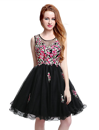 cheap Homecoming Dresses-Back To School A-Line Little Black Dress Floral Homecoming Cocktail Party Dress Illusion Neck Sleeveless Short / Mini Tulle with Crystals Appliques 2020 Hoco Dress