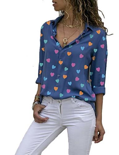 billige Dametopper-Skjortekrage Skjorte Dame - Grafisk, Trykt mønster Svart